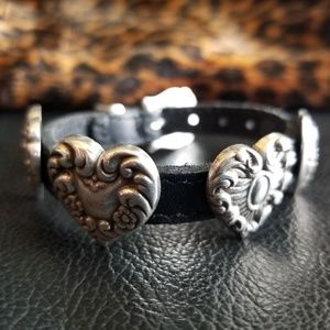 Pewter and Leather Heart Bracelet